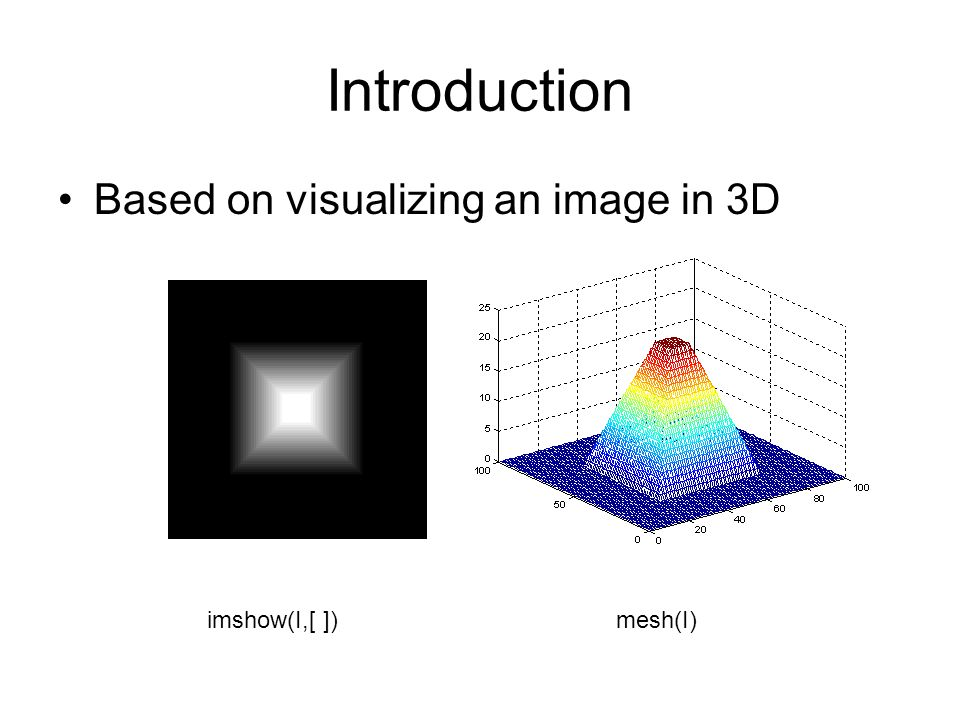Introduction Based on visualizing an image in 3D imshow(I,[ ]) mesh(I)